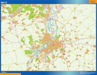 Mapa Metz en Francia enmarcado plastificado