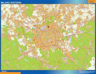 Mapa Milano Dintorni enmarcado plastificado
