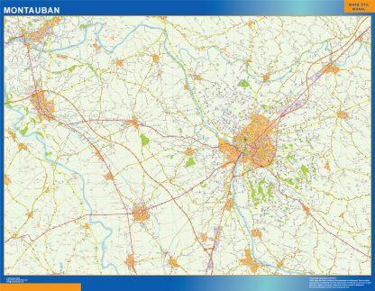 Mapa Montauban en Francia enmarcado plastificado