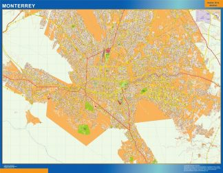 Mapa Monterrey en Mexico enmarcado plastificado