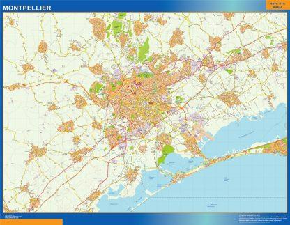 Mapa Montpellier en Francia enmarcado plastificado