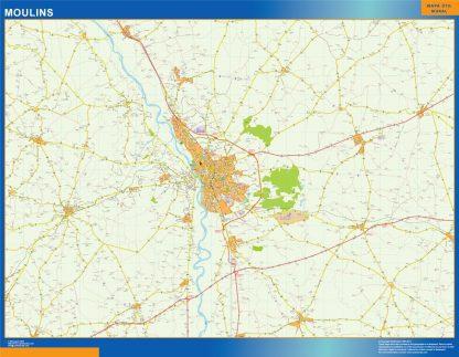 Mapa Moulins en Francia enmarcado plastificado