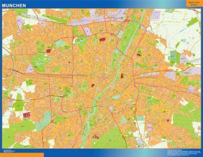 Mapa Munchen en Alemania enmarcado plastificado