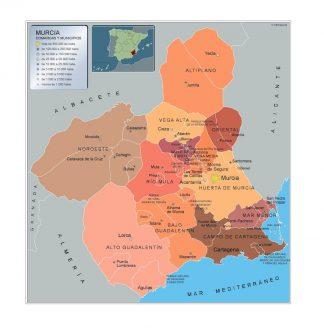 Mapa Murcia por municipios enmarcado plastificado