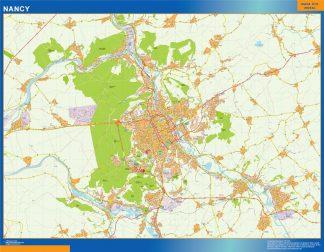 Mapa Nancy en Francia enmarcado plastificado