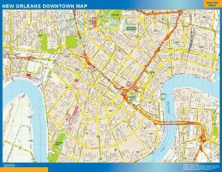 Mapa New Orleans downtown enmarcado plastificado