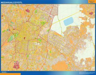 Mapa Nezahualcoyotl en Mexico enmarcado plastificado