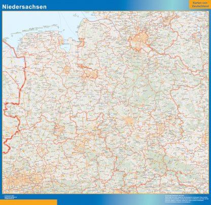 Mapa Niedersachsen enmarcado plastificado