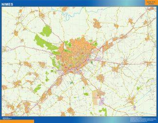 Mapa Nimes en Francia enmarcado plastificado