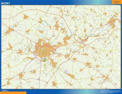 Mapa Niort en Francia enmarcado plastificado