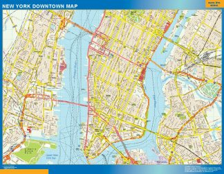 Mapa Nueva York downtown enmarcado plastificado