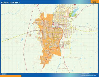 Mapa Nuevo Laredo en Mexico enmarcado plastificado