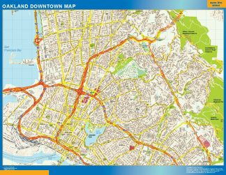 Mapa Oakland downtown enmarcado plastificado