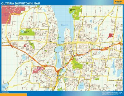 Mapa Olympia downtown enmarcado plastificado