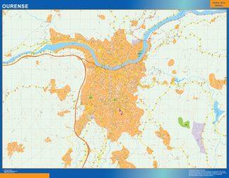 Mapa Ourense callejero enmarcado plastificado