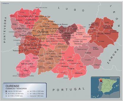 Mapa Ourense por municipios enmarcado plastificado