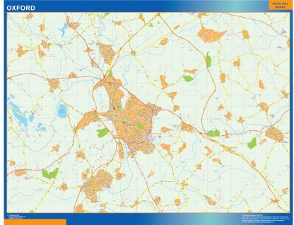 Mapa Oxford enmarcado plastificado