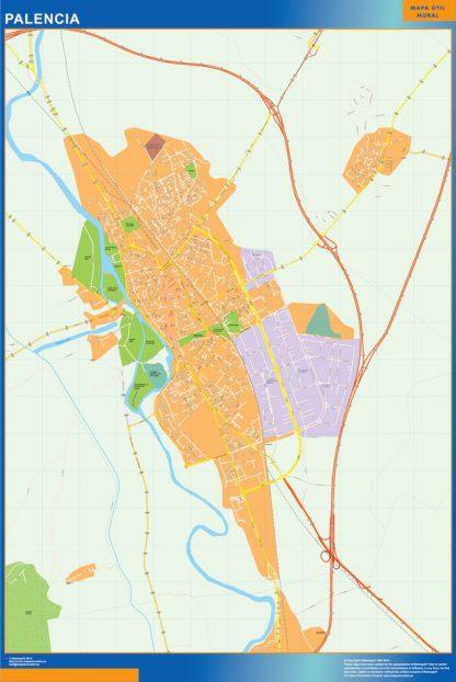 Mapa Palencia callejero enmarcado plastificado