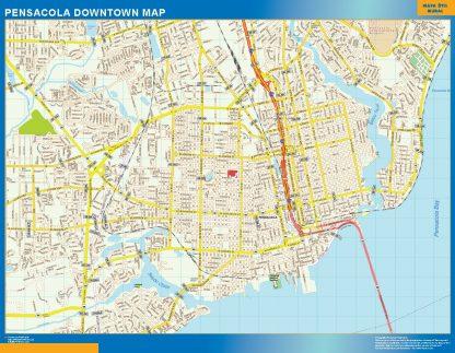 Mapa Pensacola downtown enmarcado plastificado