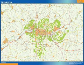 Mapa Perigueux en Francia enmarcado plastificado