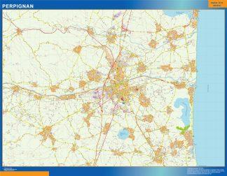 Mapa Perpignan en Francia enmarcado plastificado