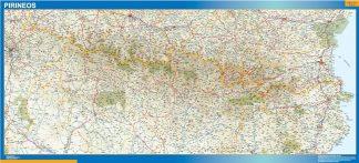 Mapa Pirineos enmarcado plastificado