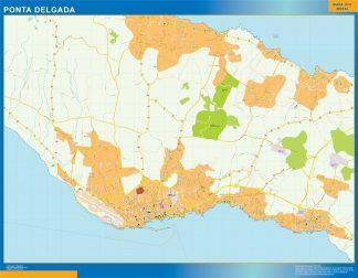Mapa Ponta Delgada en Portugal enmarcado plastificado