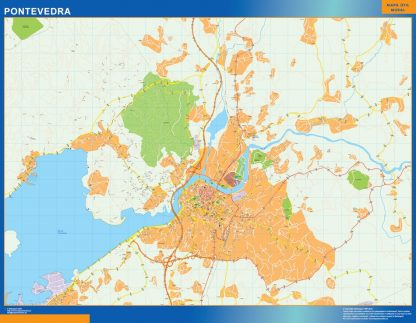 Mapa Pontevedra callejero enmarcado plastificado