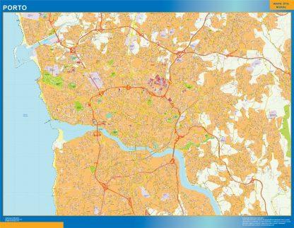 Mapa Porto en Portugal enmarcado plastificado