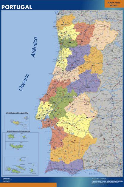 Mapa Portugal enmarcado plastificado