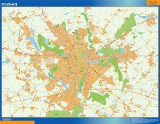 Mapa Poznan Polonia enmarcado plastificado