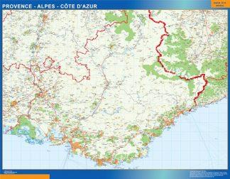 Mapa Provence Alpes Cote Azur en Francia enmarcado plastificado