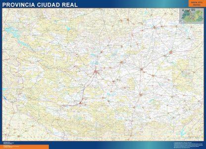 Mapa Provincia Ciudad Real enmarcado plastificado