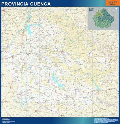 Mapa Provincia Cuenca enmarcado plastificado