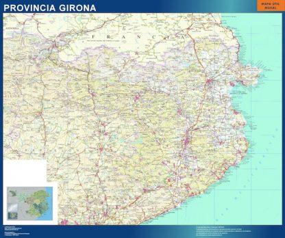 Mapa Provincia Girona enmarcado plastificado