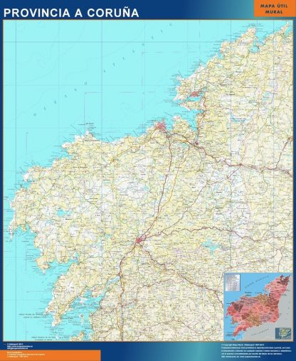 Mapa Provincia La Coruna enmarcado plastificado