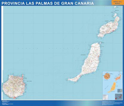 Mapa Provincia Las Palmas Gran Canaria enmarcado plastificado