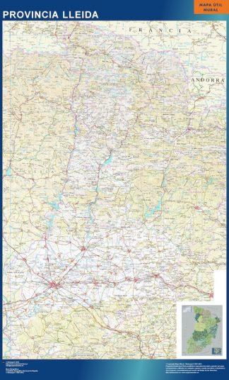 Mapa Provincia Lleida enmarcado plastificado