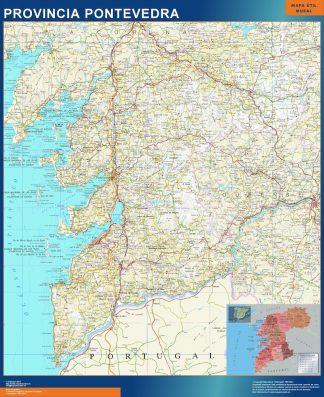 Mapa Provincia Pontevedra enmarcado plastificado