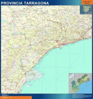 Mapa Provincia Tarragona enmarcado plastificado
