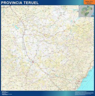 Mapa Provincia Teruel enmarcado plastificado