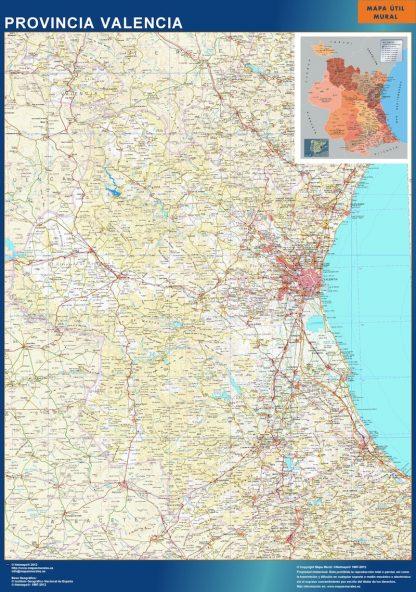 Mapa Provincia Valencia enmarcado plastificado
