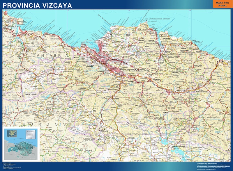 Mapa Provincia Vizcaya Vinilo Adhesivo Comprar Mapas Murales