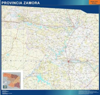 Mapa Provincia Zamora enmarcado plastificado