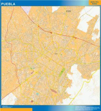 Mapa Puebla Centro en Mexico enmarcado plastificado