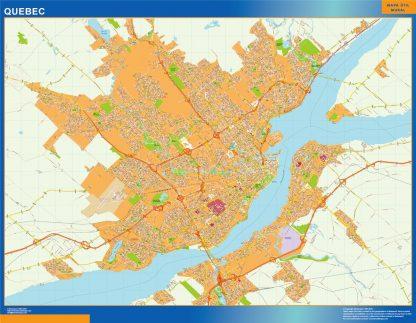 Mapa Quebec en Canada enmarcado plastificado