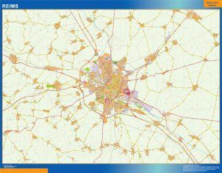 Mapa Reims en Francia enmarcado plastificado