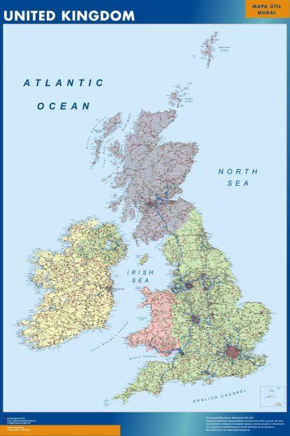 Mapa Reino Unido enmarcado plastificado