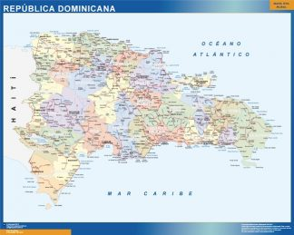 Mapa Republica Dominicana enmarcado plastificado