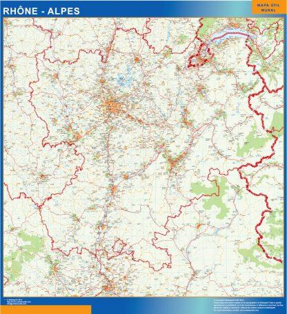 Mapa Rhone Alpes en Francia enmarcado plastificado